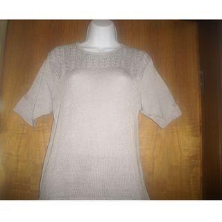 Pearl Grey Ladies Blouse - Elegant, Decorative knitted, open-weave; 珍珠灰色女士襯衫 - 優雅,裝飾針織,開放式編織; 珍珠灰色女士衬衫 - 优雅,装饰针织,开放式编织