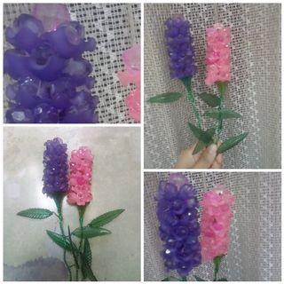 Bunga Lavender acrylic pink & ungu