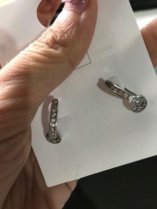 Silver/ Diamond Earrings