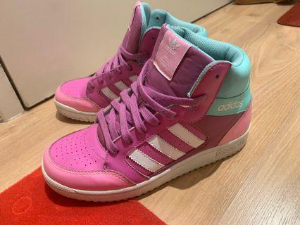 Adidas Original Womens Hi Top Sneakers Pink Three Stripe Size US6 37.5