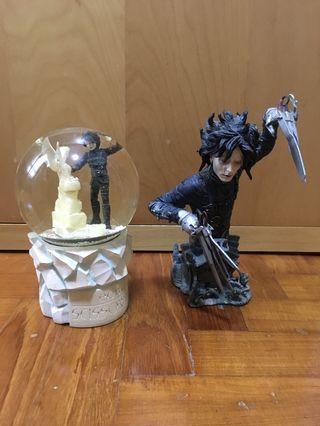 Edward scissorhands bust and snowglobe statue