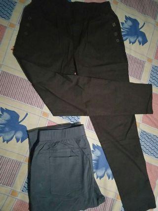 Celana Bahan pinggang karet 2 warna (coklat & abu)