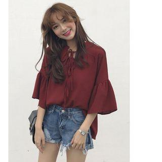 Instock Ulzzang Front Lace Oversized Top (Free Mailing)