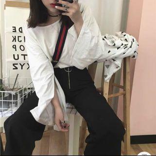 🚚 White slit long sleeve top