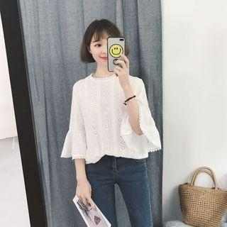 Instock Korean Cutout Bell Sleeve Blouse (Free Mailing)