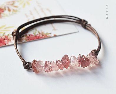 粉晶草莓晶愛情轉運水晶手鏈