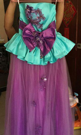 藍紫色晚裝 背綁帶