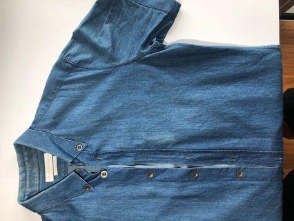 Alexander McQueen denim short sleeve button up (S)