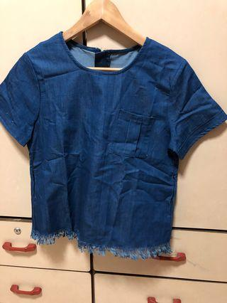 🚚 Denim frill basic tee with pockets at side top
