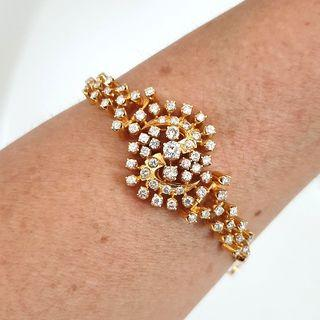 2 cts Diamonds - 18k Peranakan Bracelet / Bangle - Vintage
