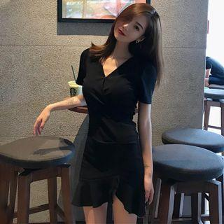Instock Korean V Cut Wrap Tie Dress (Free Mailing)