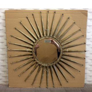 FREE Delivery RUSTIC Brass/Steel Decorative Starburst Mirror