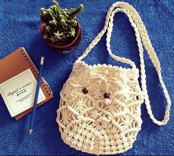 🚚 Hollow Braid Cotton Rope Bucket Sling Bag