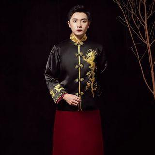 男裝龍旗袍黑色上衣紅色下身