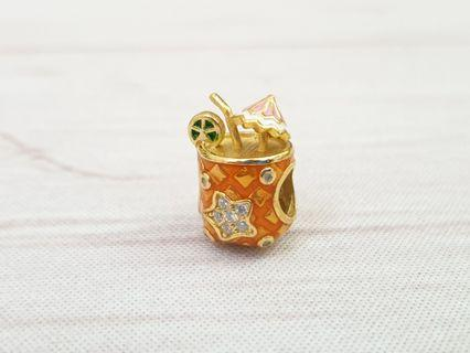 14kt Gold Sterling Silver Tropical Drink Cocktail Pineapple Coconut Charm fits Pandora Trollbeads 925