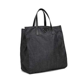 Prada BN2641 - Tessuto Stampat Tote Bag in Black Denim Colour