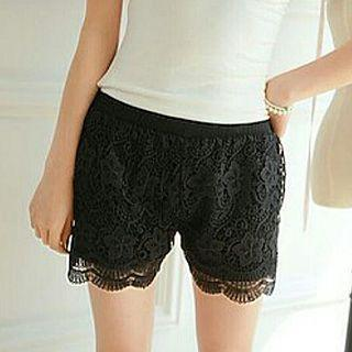 Korean Stylish Black Lace Scalloped Shorts