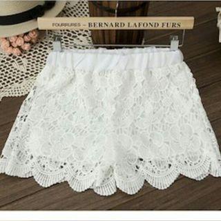 Korean Stylish Classy White Lace Shorts