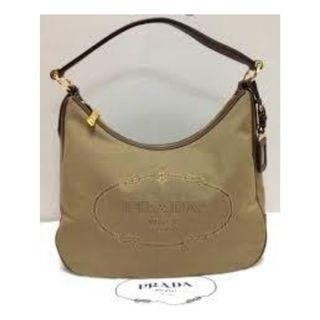 Prada BR3422 Logo Jacquard Canvas Hobo in Brown