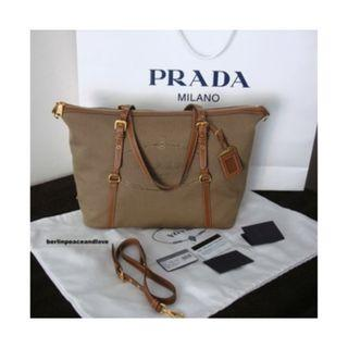 Prada BR4253 Logo Jacquard Tote Bag - Brown