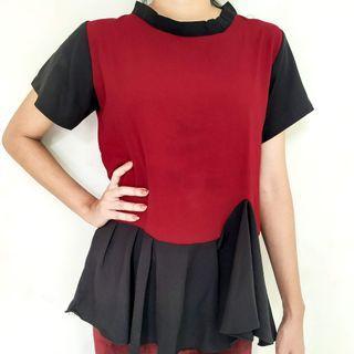 Black & Red Peplum Top