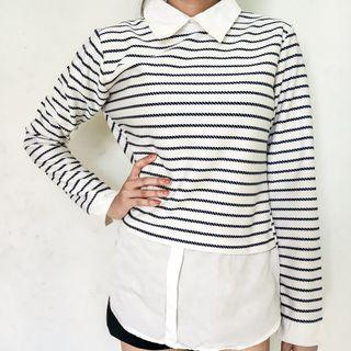 Black Striped Collared Blouse