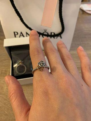 Pandora 立體玫瑰 14k愛心雙色純銀戒指(全新絕版品)