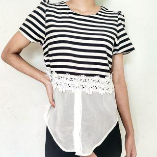 Black & White Striped Flowers Top