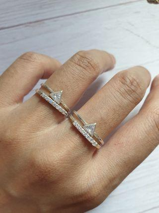 🚚 Set of 2 Sterling Silver 925 Stacking Rings Trillion Dainty Geometric Minimalist Eternity
