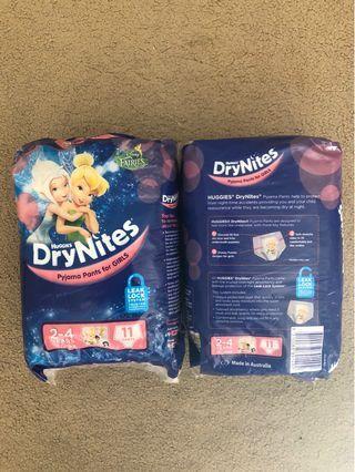 Huggies Drynites for Girls 2-4 Years x 2 packets