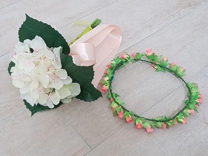 Flower Hand Bouquet and Headband