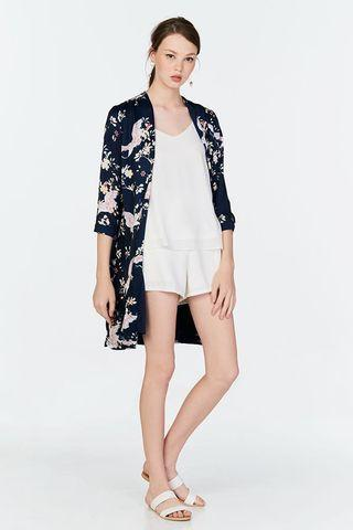 TCL Willow Printed Longline Cardigan in Navy