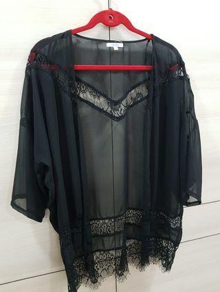🚚 Black chiffon outer wear