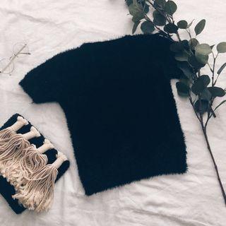 Black Fur Tshirt