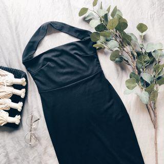 Black Halter Neck Bodycon Dress