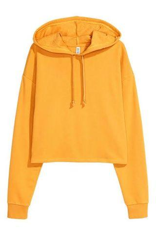 H&M Yellow Cropped Hoodie