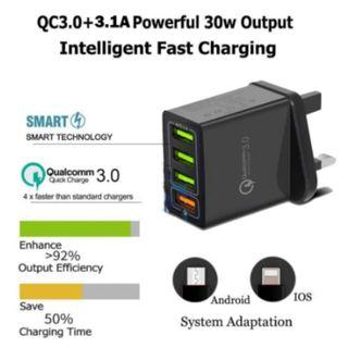 Fast Charge 3.0 Wall Charger 4 Port USB Portable Adapter