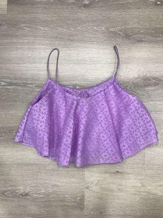 🚚 Purple Floral Crochet Cami Crop Top