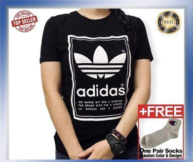 Ready Stock Unisex Adidas Tee Black