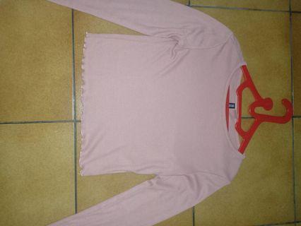 Hnm long sleeves crop shirt (pink)