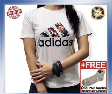 Ready Stock Unisex Adidas Tee White