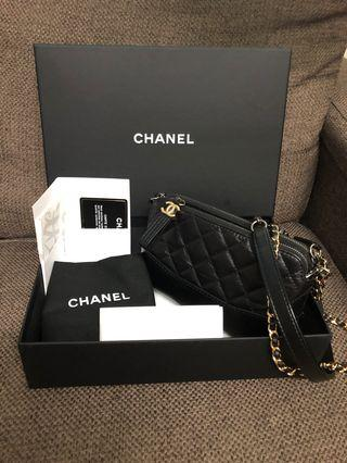 100%real 99%new chanel gabrielle woc wallet on chain mini size in black fullset