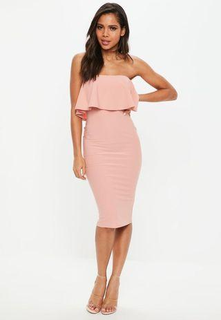Missguided Pink Ruffle Bandeau Midi Bodycon Dress