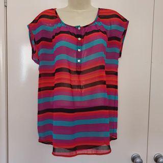 Size 10 Euc Target lightweight rainbow stripe print short sleeve top