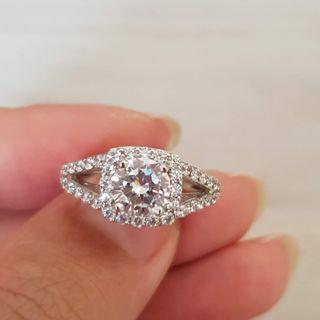 White Gold Sterling Silver Fairytale Cathedral Diamond CZ Ring Wedding Engagement 925