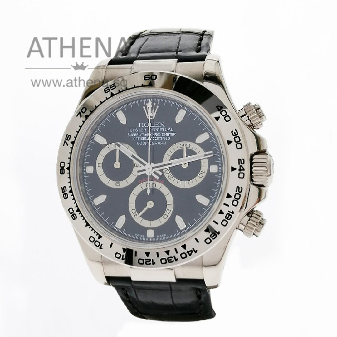 """18K WHITE GOLD ROLEX COSMOGRAPH DAYTONA """"Z"""" SERIES """"BLACK INDEX DIAL"""" WITH CHAPTER RING & ROC SERVICE PAPER 116519 JGWRL_951"""