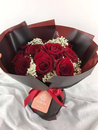 🚚 20% OFF Red Rose & Baby Breath Bouquet | Flower Delivery | Fresh Flowers