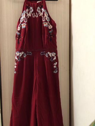 Embroidered Floral Jumpsuit Maroon