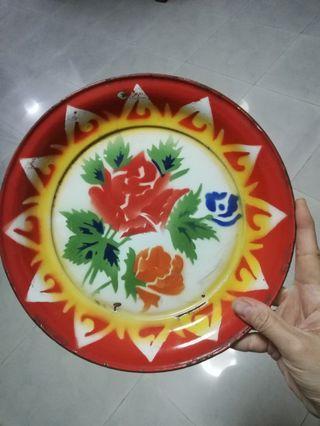 Rose Vintage Round Enamel Plate