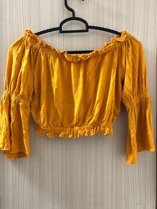 Mustard Flare Off Shoulder Top